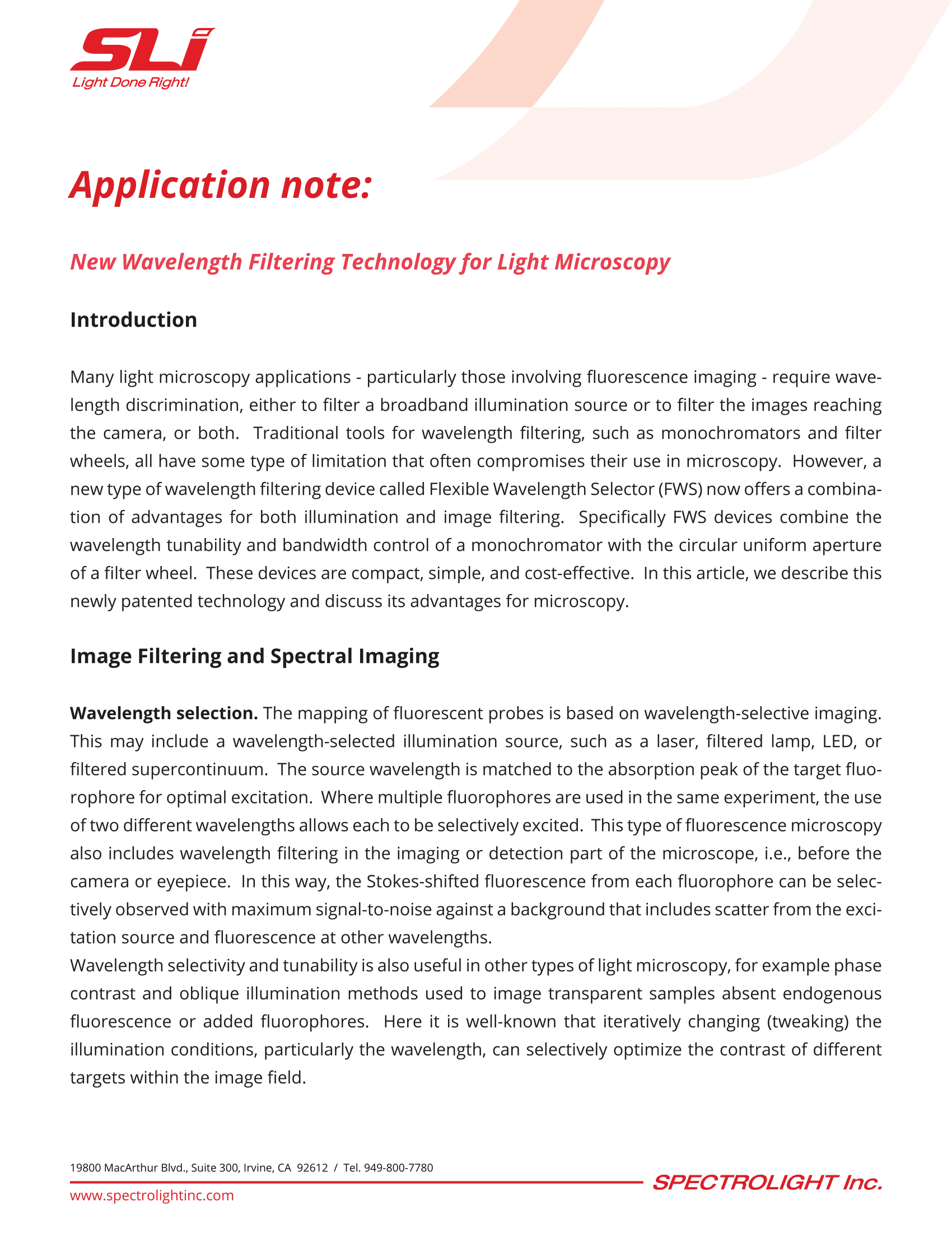 Application Note] New Wavelength Filtering Technology for
